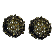 Vintage Sterling Silver Clip Earrings Faux Pearls MMA
