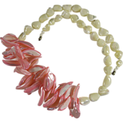 Absolutely Fantastic Chunky Pink & White Mother of Pearl Necklace