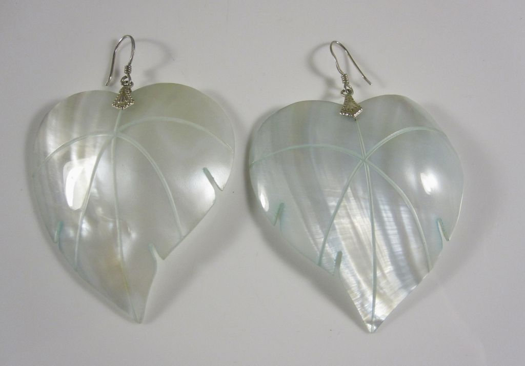 Vintage Large & Elegant Mother of Pearl  & Sterling Silver Drop Earrings