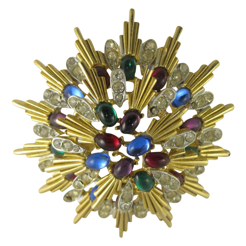 Vintage Gold Tone & Multicolor Rhinestons Star Brooch