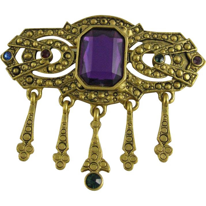 Vintage 1970s Gold Tone Pin with/ Large Amethyst Color Rhinestone