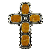 Vintage Sterling Silver Cross Pendant Pin by WJ