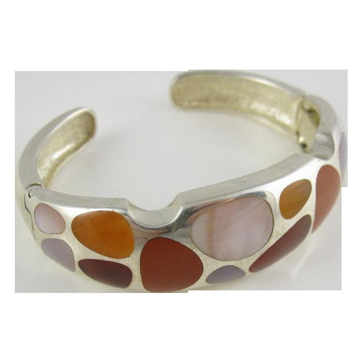 Vintage Retro 1980s Designer Sterling Silver Cuff Bracelet