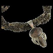 Vintage Smokey Quartz Designer Necklace & Sterling Silver Pendant DTR