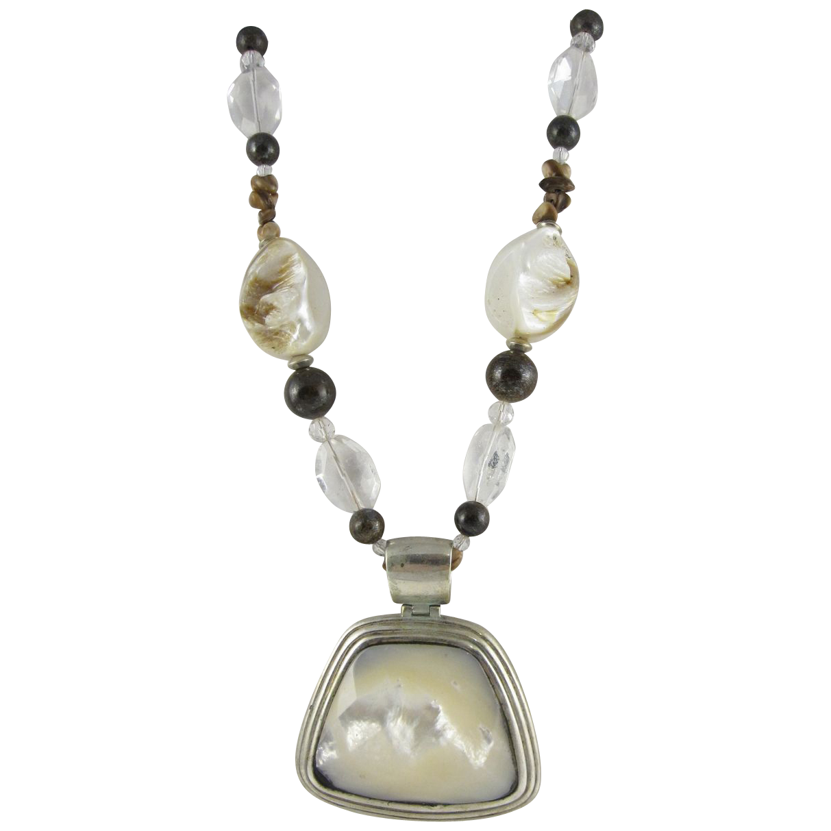 Vintage Sterling Silver & Mother Of Pearl Necklace & Pendant By Barse