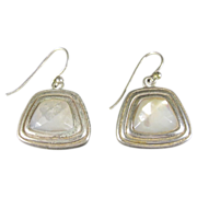 Vintage Sterling Silver & Mother of Pearl Earrings by Barse