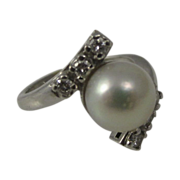 Vintage Platinum Ring Diamonds & Natural Pearl