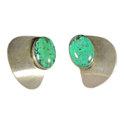 Vintage Sterling Silver & Malachite Clip Earrings by Avi Soffer Israel