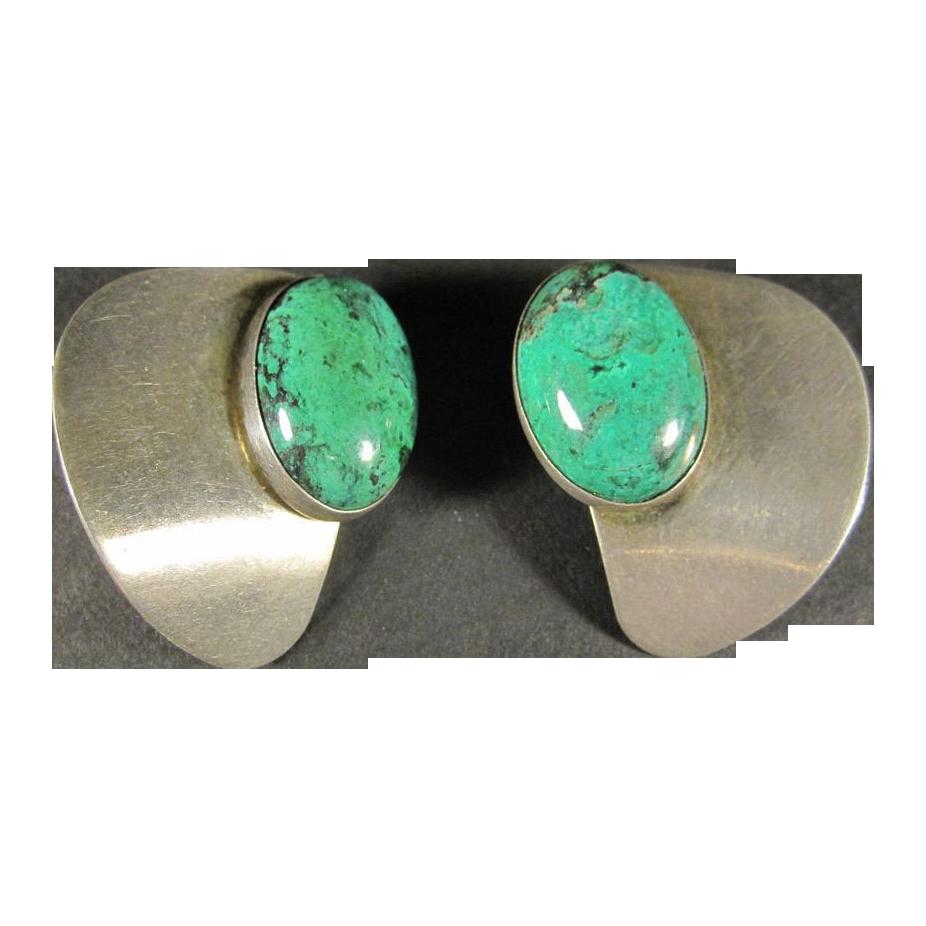 Vintage Sterling Silver & Malachite Clip Earrings by Avi Soffer Israel