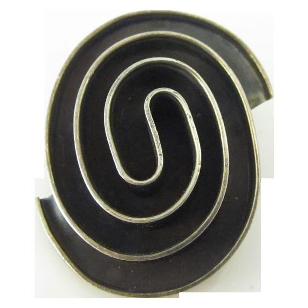 Vintage Modernist Sterling Silver Pin Cuernavaca Mexico