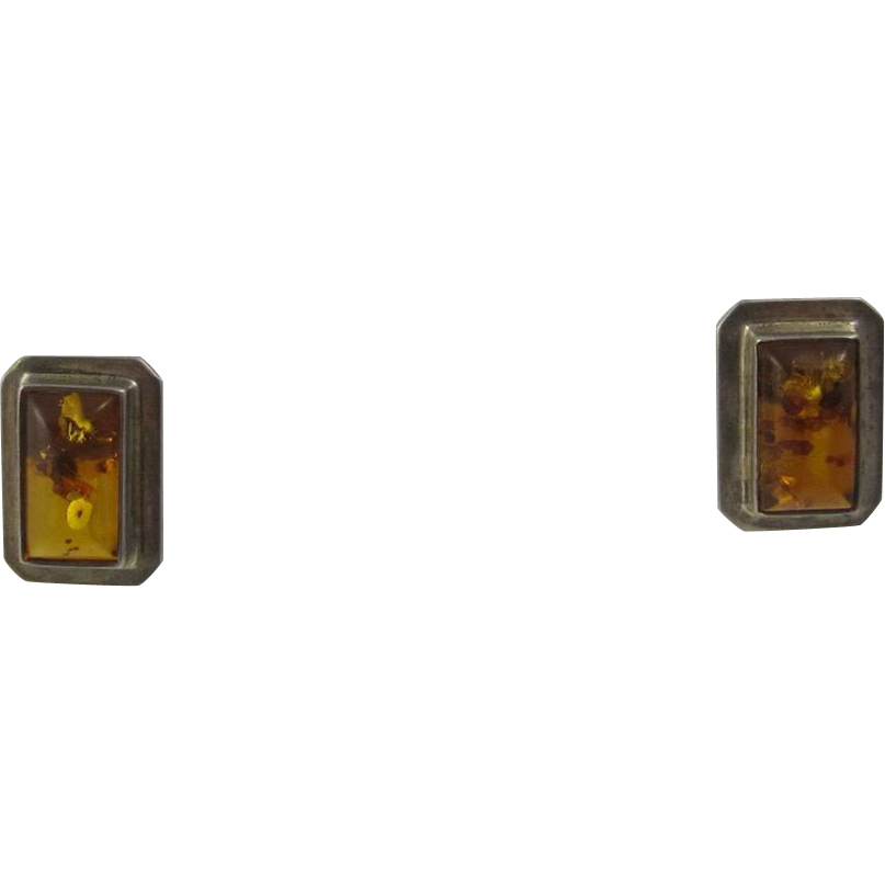 Vintage Sterling Silver & Amber Rectangular Earrings