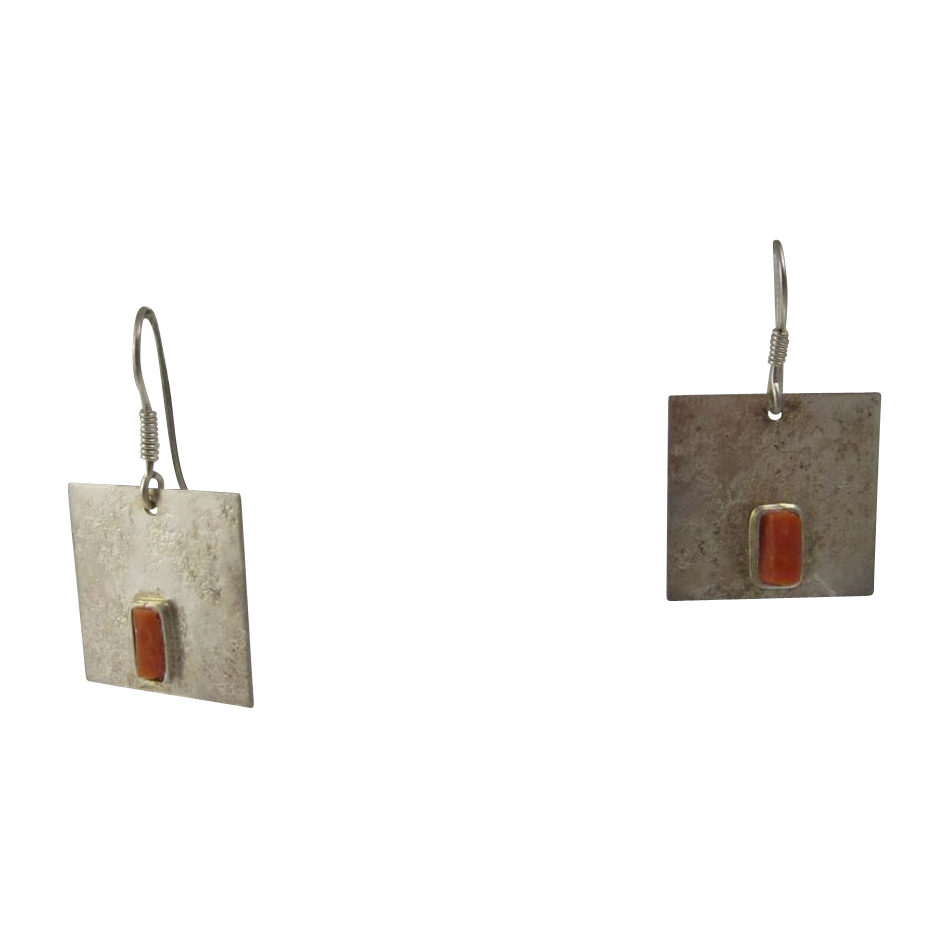 Italian Modernist Design Sterling Silver Earrings w/ Red Coral Signed