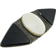 Mid Century Modernist Sterling Silver Pin w/ Onyx & Mother of Pearl