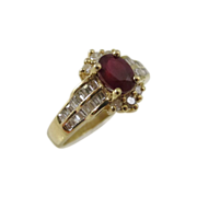 Vintage 14k Yellow Gold Rign w/ Ruby and Diamonds