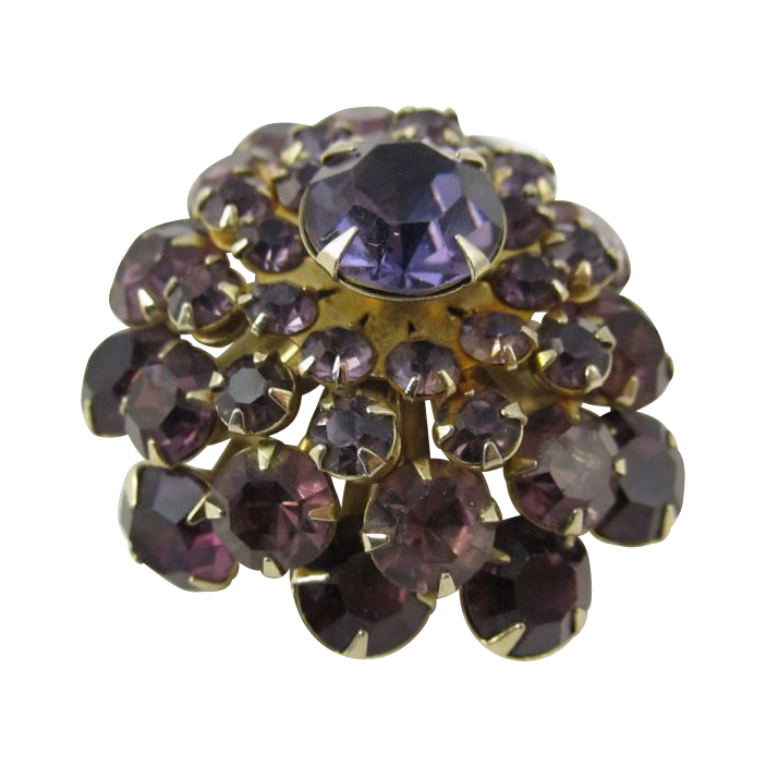 Vintage Cluster Pin with Purple Rhinestones
