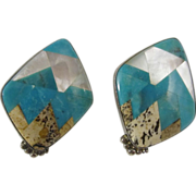 Vintage Sterling Silver Designer Earrings Turquoise & Mother of Pearl