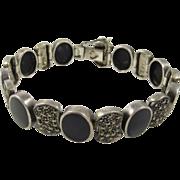 Vintage Art Deco Sterling Silver Marcasites & Black Onyx Bracelet