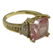 Vintage 14k Yellow Gold Ring w/ Pink Stone