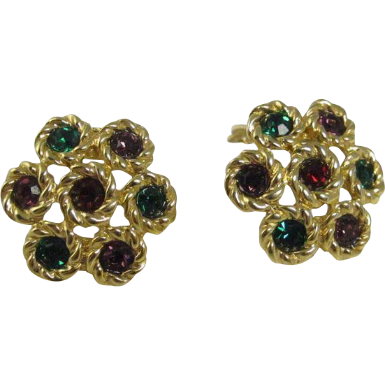 Swarovski Clip On Earrings Red Green Purple Crystals