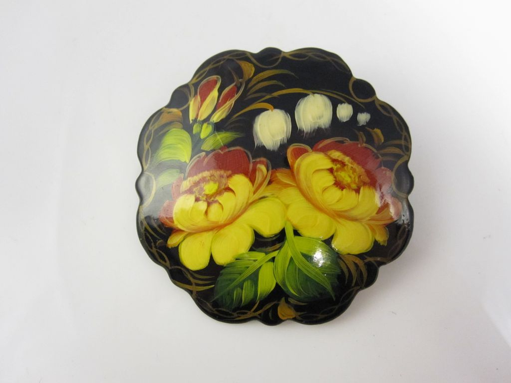 Russian Hand Painted Lacquer Flower Pin Brooch