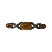 Vintage Sterling Silver & Natural Amber Brooch Pin