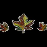 Vintage Sterling Silver Enamel Maple Leaf Pin & Earrings