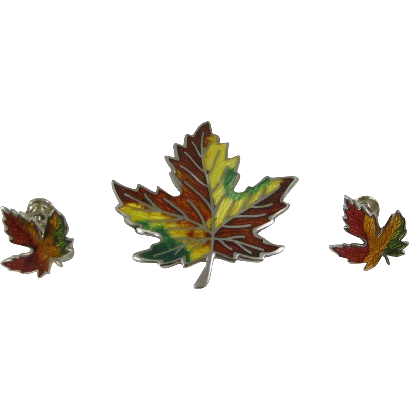 Vintage Sterling Silver Enamel Maple Leaf Pin & Earrings