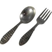 Vintage Sterling Silver Baby Alphabet Fork & Spoon by Rogers