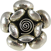 Vintage Sterling Silver Polish Modernist 3D Rose Flower Ring Poland