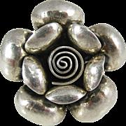 Vintage Sterling Silver Polish Modernist 3D Rose Flower Ring Poland
