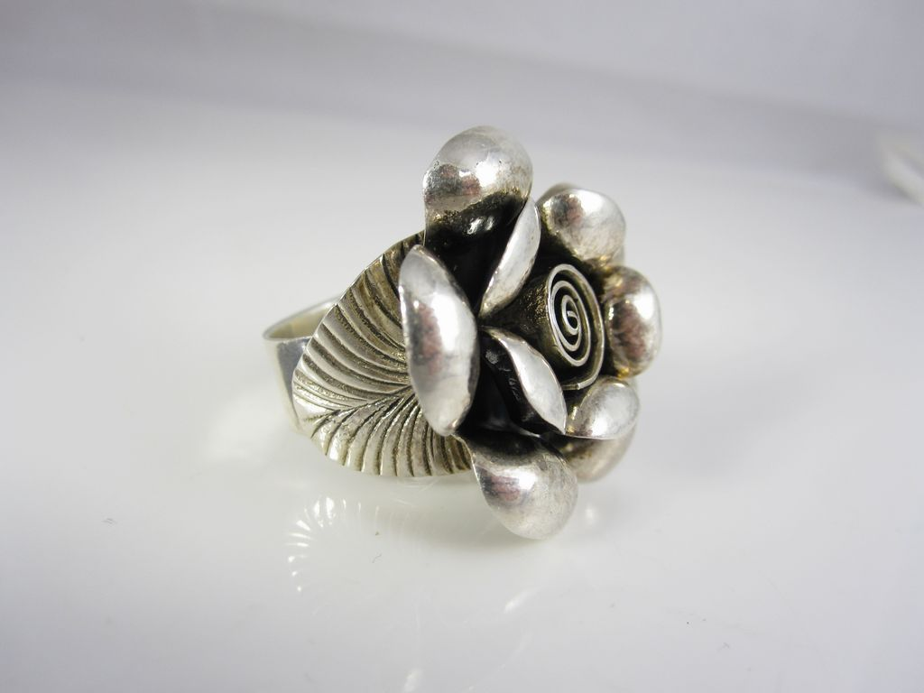 vintage sterling silver modernist 3d flower