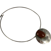 Vintage 1970s Celia Sebiri Sterling Choker Necklace with Round Carenelian Pendant