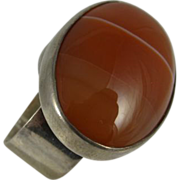 Vintage Modern Design Ring w/ Large Oval Agate 1970s