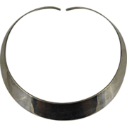 Vintage 1970s Sterling Silver Collar Choker Necklace