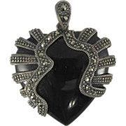 Vintage 1940s Sterling Silver Black Onyx & Marcasites Heart Pendant