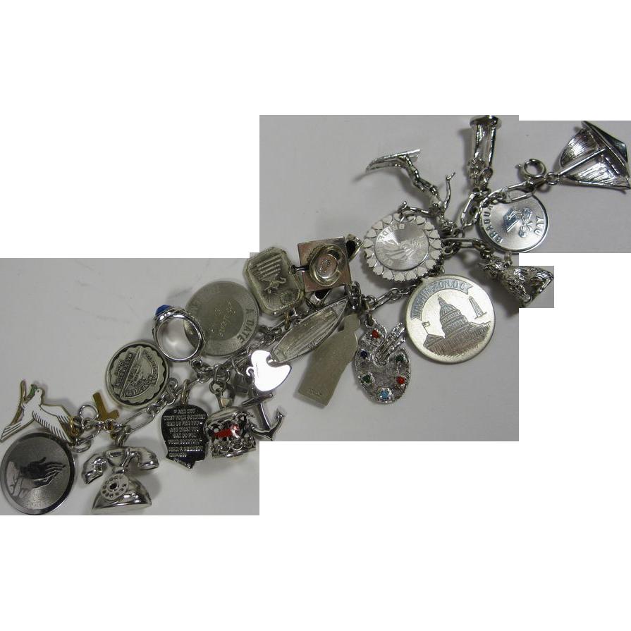Vintage Sterling Silver Charm Loaded Bracelet