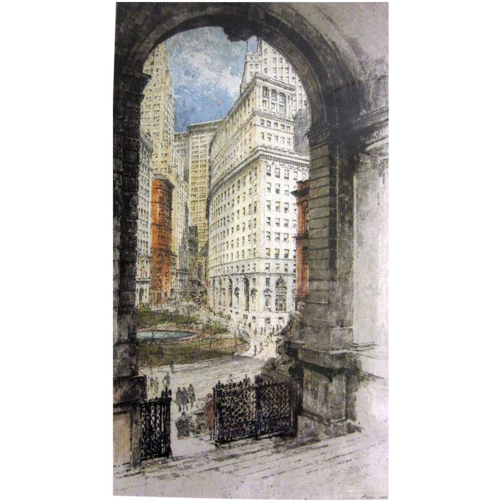 Luigi Kasimir Authentic Aquatint Etching Bowling Green New York