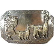 Vintage Peruvian 900 Silver Pin Brooch Peru 1940s-1950s