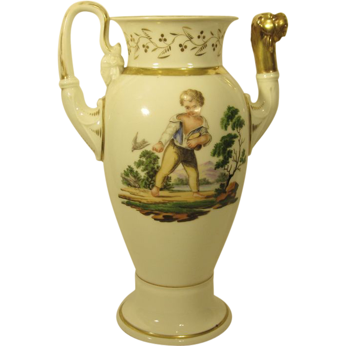 Antique Scenic Hand Painted Porcelain Coffee Pot c. 1820s