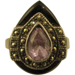 Vintage Sterling Silver Onyx Marcasites & Purple Rhinestone Ring