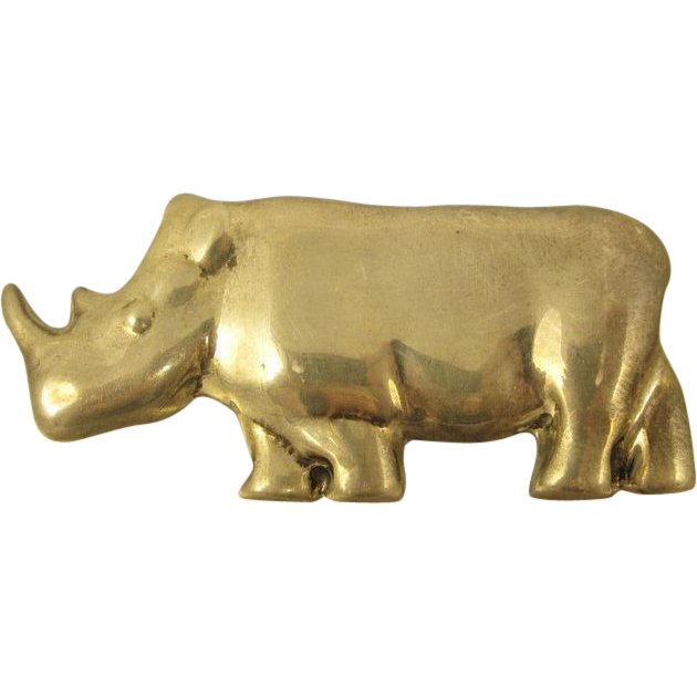 Vintage 1980s Sterling Silver Rhinoceros Rhino Pin by Zina