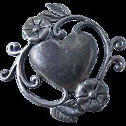 Vintage Sterling Silver Art Nouveau Heart Brooch Pin