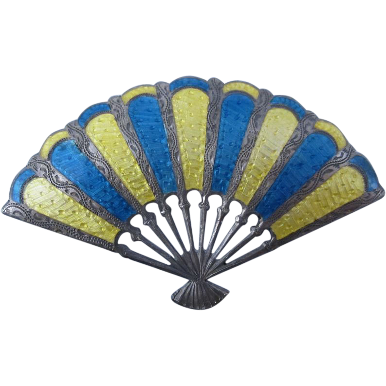 Vintage Sterling Silver Blue & Yellow Enamel Fan Pin