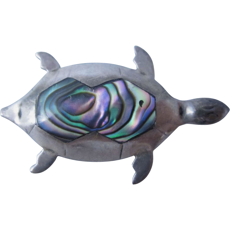 Mexican Sterling Silver & Abalone Shell Turtle Brooch Pin
