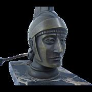 Art Deco Bronze Roman Soldier Head Sculpture Lamp