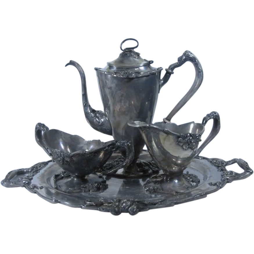 Art Nouveau Silver Plate Figural Coffee Set by Meriden 1904