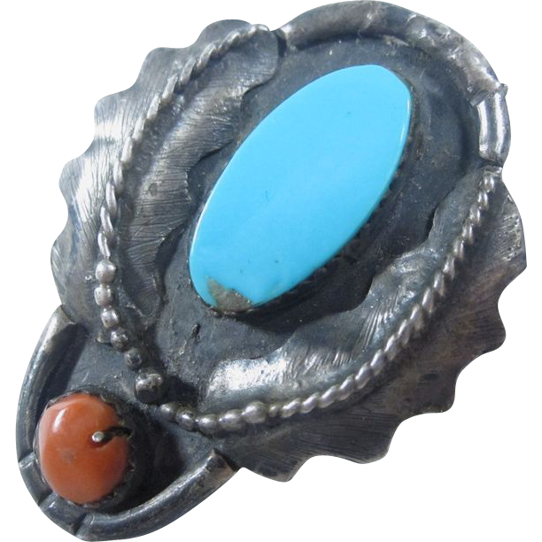Antique Native American 925 Sterling Silver Turquoise Coral Ring
