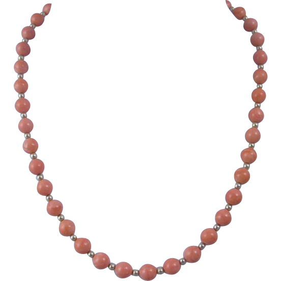 Vintage Pink Coral & 14k Yellow Gold Necklace