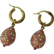 Vintage Italian Sterling Silver & Pink Enamel Egg Earrings Italy
