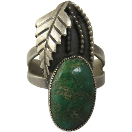 Signed Native American Ring Sterling Silver & Green Turquoise 1950s